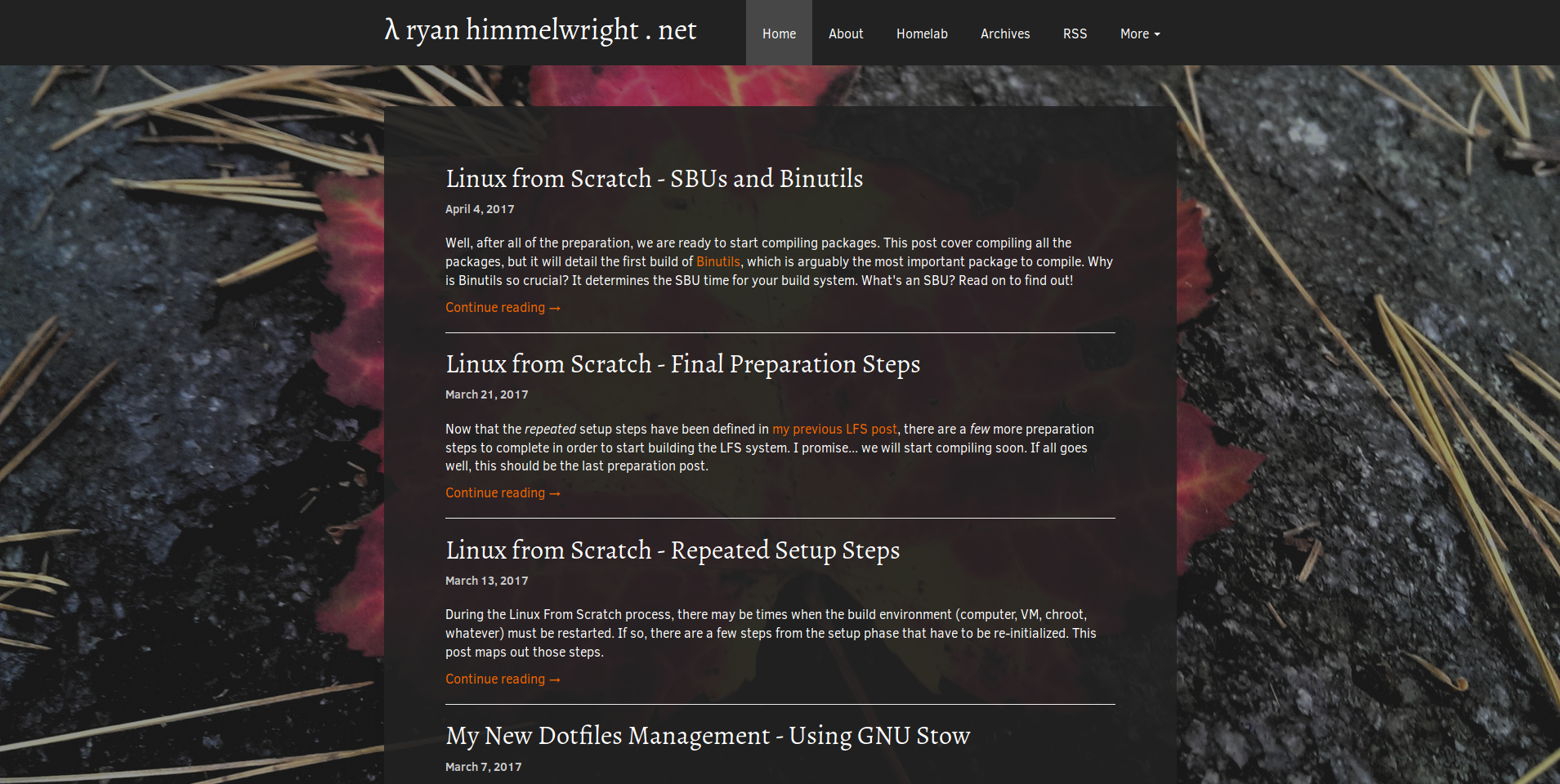 Homepage with Immutable Theme