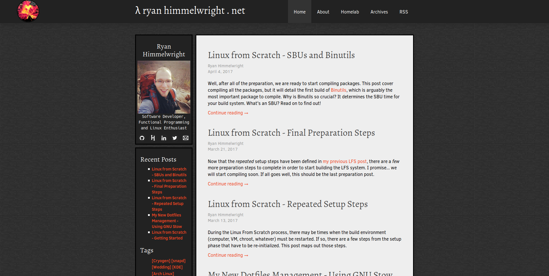 Homepage with old ryan1 Theme