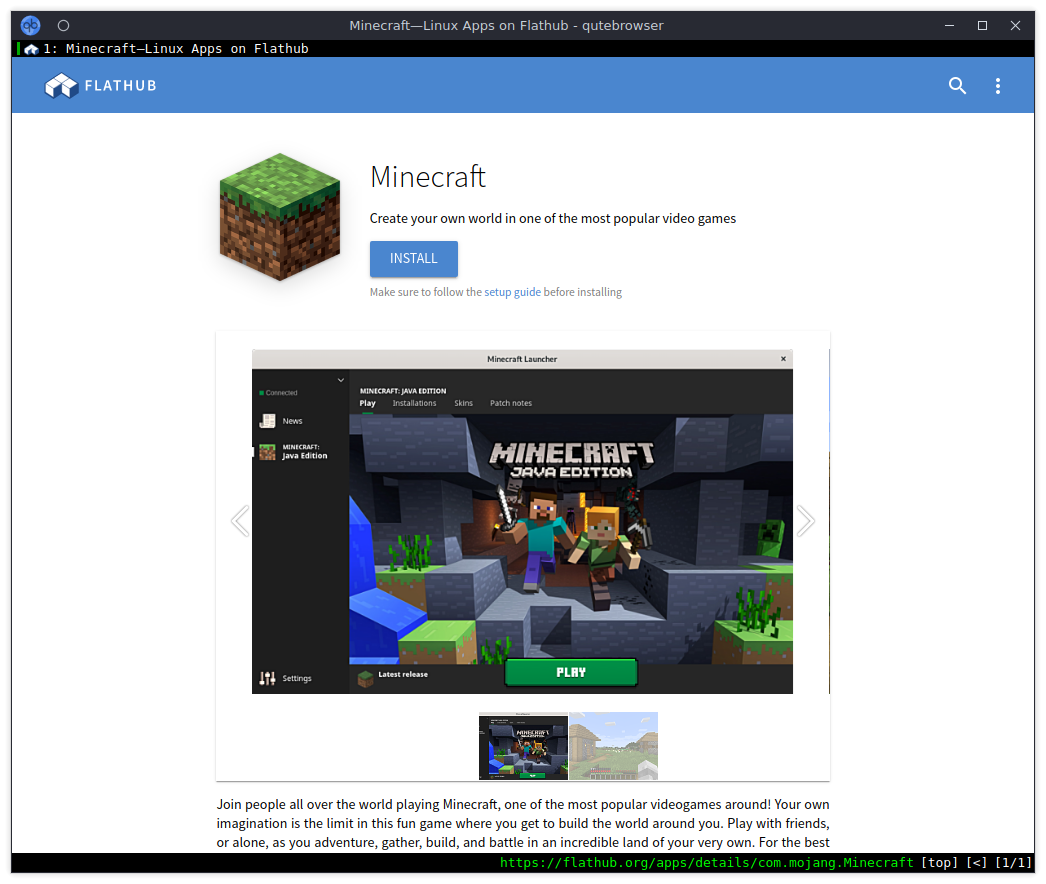 The Minecraft Flathub Page