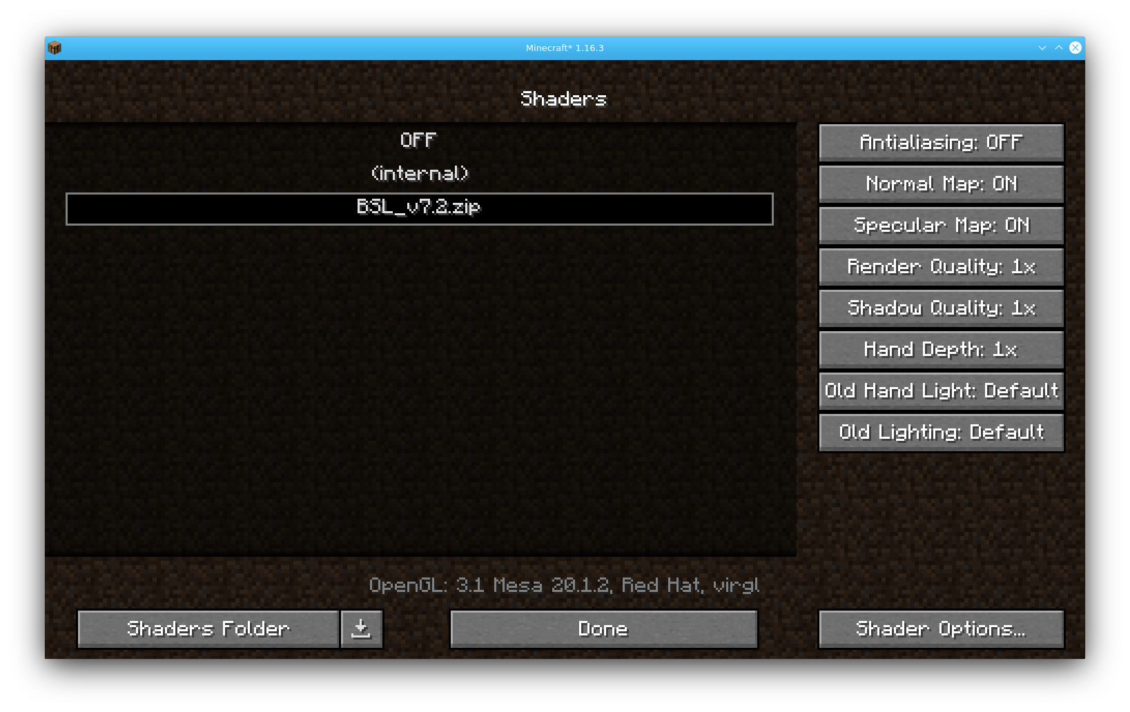 Minecraft Shader Settings
