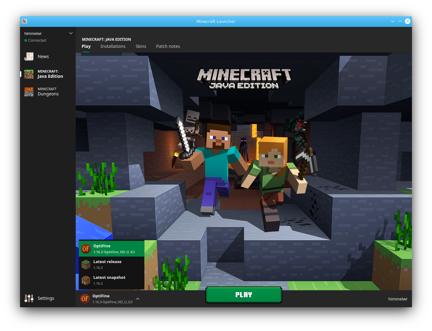The minecraft launcher, selecting optifine